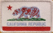 (8.9cm x 5.7cm Inches) CALIFORNIA STATE FLAG Rectangle Patriotic National Bordered Flag Badge Iron-On RED, WHITE, PASTEL BLUE VERSION Embroidered Applique Patch WHITE BORDER #2