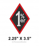Custom 1%ER MC Outlaw One Percenter Biker Diamond Sew on Patch 5.7cm X 8.9cm