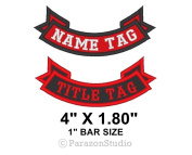 Custom Embroidered Bottom Rocker Name Tag Ribbon Sew on Patch - 10cm X 4.6cm