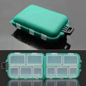 Isafish Small 10 Compartments Waterproof Hard Fishing Tackle Box Case, Hooks Lure Baits Storage Box