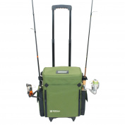 Elkton Outdoors Rolling Tackle Box Green / L 15.7 x W 9.6 x H 47cm / 5kg / Waterproof / 5 Retractable Compartments / 4 Rod Holders / Rolling Fishing Tackle Bag / Roller Tackle Box