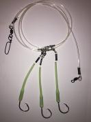 Deep Drop Fishing Rig, 3 Mustad 10/0 39960 Hooks with Glow Sleeve