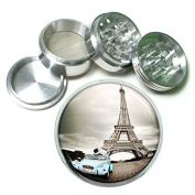 """63mm 2.5"""" 4Pc Aluminium Sifter Magnetic Grinder D-034 Eiffel Tower Car Couple Kissing"""