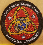 [Single Count] Custom & Unique ( 10cm Inches) USMC MATERIEL COMMAND Iron-On Patch Tactical Morale Emblem Patriotic National Bordered USMC Badge Iron-On Embroidered Applique Patch BLACK BORDER