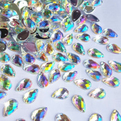 300Pcs 0.31x0.51″ Drop Shape Crystal AB Colour Clear AB Resin Sew On Rhinestones Flatback Sewing Stones For Clothes Dress Crafts Garments Accessories