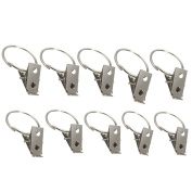 20 Pcs Silver Stainless Steel Window Curtain Clips Shower Curtain Rod Clips Rings Clothes Drapery Hooks Clamps