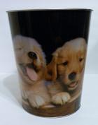 Puppies- 3 Labrador Pups - Metal Tin Waste Basket Trash Can - Puppy/Dog 25cm High