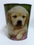 Puppies Labradors Metal Tin Waste Basket Trash Can - Puppy/Dog 25cm High
