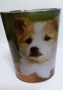 Puppies Metal Tin Waste Basket Trash Can - Puppy/Dog 25cm High