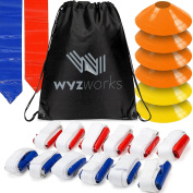 WYZworks 12 Player 3 Flag Football Kit Set - 12 Belts with 36 Flags + BONUS 6 Cones + Travel Bag