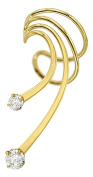 Ear Charms Long Grande CZ Wave Ear Cuff Gold Over Sterling Silver NON-Pierced Left Earring Cuff