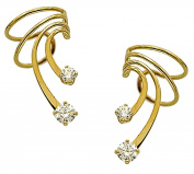 Ear Charms Classic Short Wave Ear Cuff, 3 and 4mm Cubic Zirconia, Gold Over Sterling a PAIR of Ear Cuff Non-Pierced Earrings