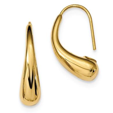 14k Polished Puffed Teardrop Shepherd Hook Earrings
