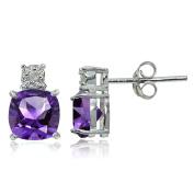 Sterling Silver Genuine or Created Gemstone Cushion-cut Drop Stud Earrings
