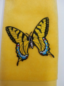 Swallowtail Butterfly Fingertip yellow Towel Vintage Applique