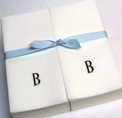 Disposable Nature's Linen Guest Hand Towels with a Ribbon - Personalised with a Gold Single Block Initial - B - 100ct.