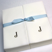 Disposable Nature's Linen Guest Hand Towels with a Ribbon - Personalised with a Gold Single Block Initial - J - 50ct.