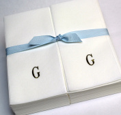 Disposable Nature's Linen Guest Hand Towels with a Ribbon - Personalised with a Gold Single Block Initial - G - 50ct.
