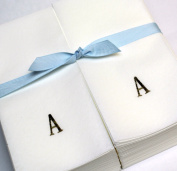 Disposable Nature's Linen Guest Hand Towels with a Ribbon - Personalised with a Gold Single Block Initial - A - 50ct.