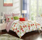 stylehouse WK681184 Watercolour Floral Bed in A Bag Comforter Set & Bonus Dec Pillows,Watercolour Floral,King