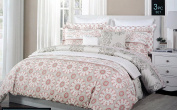 Cynthia Rowley Bedding 3 Piece Full / Queen Reversible Duvet Cover Set Salmon Pink and White Medallions on Grey