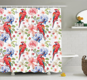 Parrots Decor Shower Curtain Set by Ambesonne, Pastel Coloured Parrots with Iris and Roses on Berry Background Retro Inspired Romantic Image, Bathroom Accessories, 210cm Extralong, Multi