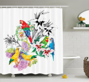 Parrots Decor Shower Curtain Set by Ambesonne, Parrots Observing the World on Top of A Floral Foliage Garden Jungle Tropic Weird Bird Print, Bathroom Accessories, 190cm Long, Multi