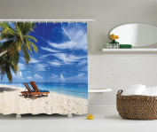 Ambesonne Seaside Decor Collection, Two Beach Chairs on the Tropical Sand Beach under Palm Trees Picture Print, Polyester Fabric Bathroom Shower Curtain, Blue Green Ivory