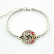 Ingooood Bracelet,Music Note Bangle,Glass Cabochon Dome Charm, Art Musical Note Picture silver brcelet For Women Gift