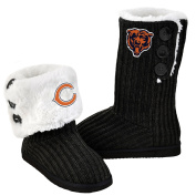 NFL Football Ladies Knit High End Button Boot Slippers - Black