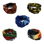 CHIC-CHIC 5pcs Multi-function Headwear Bandana Balaclava Neckerchief Sports Cycling Motorcycle Stretchable Print Neck Tube Scarf Face Mask Headband