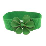 Gleader Green Faux Leather Flower 7.5cm Wide Elastic Cinch Belt for Woman