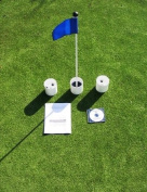 Practise Putting Green - Natural or Synthetic - Accessory Kit - (3) Aluminium 10cm Deep Regulation Cups + (1) Solid Blue Jr. Flag + (1) 80cm Golf Pin Marker w/ Easy Grip Knob & Attached Ball Lifter Disc