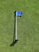 Golf - Putting Green - (1) 80cm Practise Green Pin Marker w/ Easy Grab Knob and Ball Lifter Disc + (1) Solid BLUE Coloured Jr Flag Included
