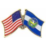 American & El Salvador Flags Pin 2.5cm