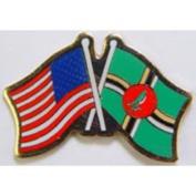 American & Dominica Flags Pin 2.5cm