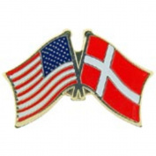 American & Denmark Flags Pin 2.5cm
