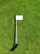Golf - Putting Green - (1) 80cm Practise Green Pin Marker w/ Easy Grab Knob and Ball Lifter Disc + (1) Solid WHITE Coloured Jr Flag Included