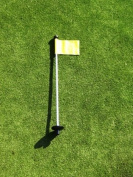 Golf - Putting Green - (1) 80cm Practise Green Pin Marker w/ Easy Grab Knob and Ball Lifter Disc + (1) Solid YELLOW Coloured Jr Flag Included