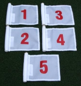 Set of Red Numbered #1, #2, #3, #4, and #5 each printed on a solid White Jr. (20cm L x 15cm H) 400 Denier Pin Marker Flag For Golf & Putting Green Applications