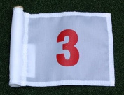 Red Numbered #3 printed on a solid White Jr. (20cm L x 15cm H) 400 Denier Pin Marker Flag For Golf & Putting Green Applications