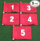 White Numbered Set (1-5) Red Jr. (20cm L x 15cm H ) Marker Flags For Golf & Putting Green Applications