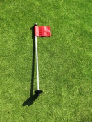Golf - Putting Green - (1) 80cm Practise Green Pin Marker w/ Easy Grab Knob and Ball Lifter Disc + (1) Solid RED Coloured Jr Flag Included