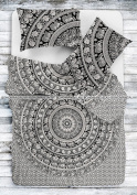 Best Selling Duvet Cover Indian Elephant Black & White BW Design Mandala Printed By Bohomandala