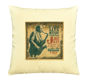 Poster with Saxophonist Image Printed Cotton Pillows Cover Cushion Case VPLC_03