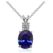 Sterling Silver Genuine or Created Gemstone Oval Drop Necklace