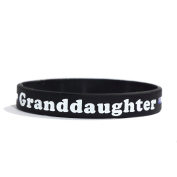 GRANDDAUGHTER Thin Blue Line Silicone Wristband Bracelets Police Officers Patrol Awareness Support