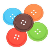 Topbeu 5Pcs Cute Round Silicone Button Drink Coaster Cup Mat for Drinks Wine Beer or Beverage