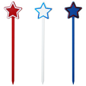 15cm Patriotic Star, USA Themed Swizzle Sticks, Red, White & Blue Assortment, 24 ct. - Made In USA