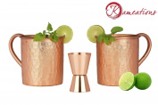 Kameations Premium Moscow Mule Copper Unlined Gift Pack Mug, 100 % Pure Solid Copper (470ml, Hammered, Set Of 2) With Free Copper Jigger